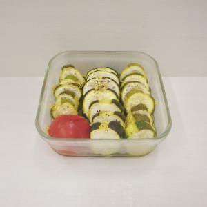 7/4焼きズッキーニとトマトのマリネ、小松菜のおひたし、とろとろナスで田楽、タラ粕漬け、茗荷炒飯
