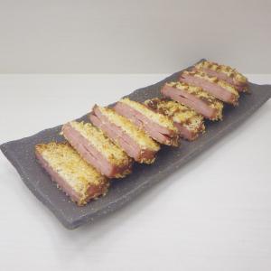 9/21レシピを手直し、モーニングステーキでヘルシー揚げないハムカツ(厚め)☺︎