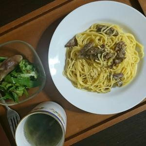 塩イノブタカルボナーラと、マルボシ「中華そうめん」で醤油ラーメン
