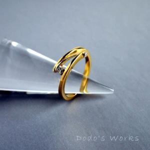 真鍮とシルバーの糸巻きリング