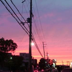 真っ赤に燃えた夕焼けの天気予報