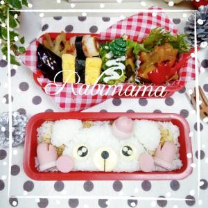 【クリスマスのお弁当】白くまさんと可愛い手袋&サンタ帽のお弁当(≧▽≦)