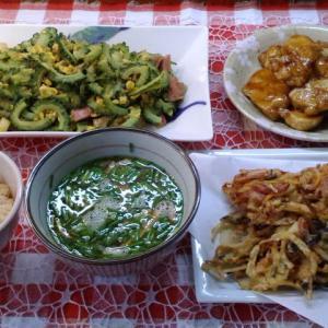 かき揚げと鶏ムナ肉の照り焼きとゴーヤーチャンプルーでお昼ご飯。