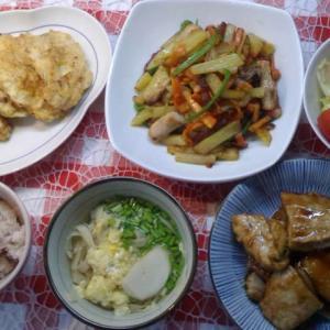 鶏胸肉のバジルチーズピカタと鮪の照り焼きでお昼ご飯。