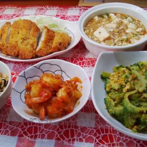 麻婆豆腐とエビチリと豚カツでお昼ご飯。
