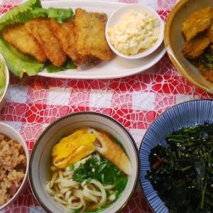 カジキカツのタルタルソースと南瓜煮と芋の葉炒めでお昼ご飯。。