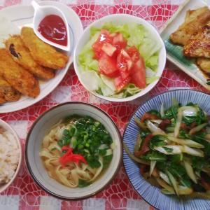 茄子フライと鮪の照り焼きとチンゲイ菜炒めでお昼ご飯。