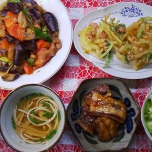 茄子の黒酢炒めとかき揚げでお昼ご飯。