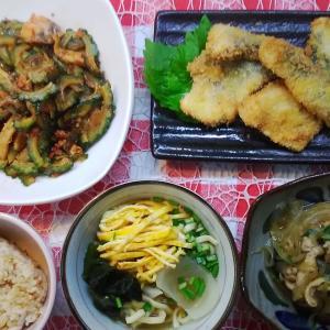 さわらのフライとゴーヤーの豆板醤炒めでお昼ご飯。