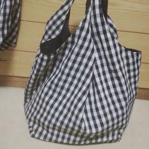 縫いました♪もう1つのギンガムチェックのお買い物バッグ☆