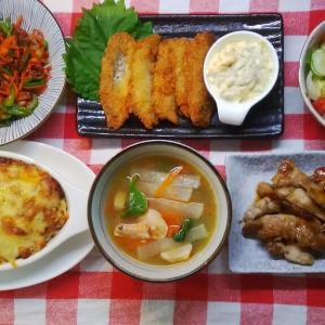 玄米のチーズドリアと鶏肉の照り焼きでお昼ご飯。