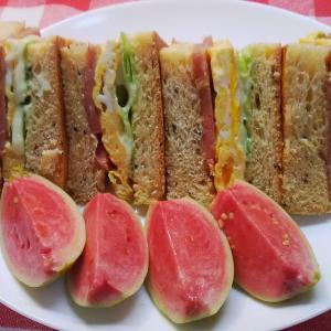 ドラゴンフルーツパンでグァバの実を添えてポーク卵サンドで朝食。