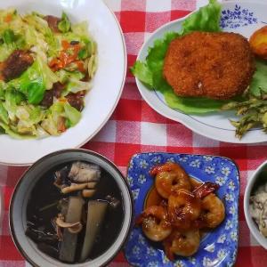 キャベツ炒めとミルフィーユカツと大豆のマヨあえとエビ照り焼きでお昼ご飯。