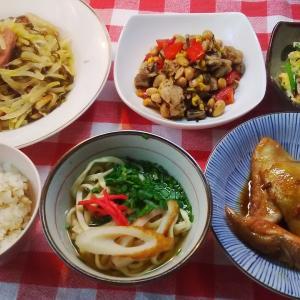 秋鮭カマの照り焼きと鶏と豆の煮つけと青パパイヤでお昼ご飯。