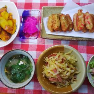白身魚で3種のつくね揚げと南瓜煮とドラゴンフルーツの甘酢漬けでお昼ご飯。