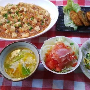 麻婆豆腐とニラ玉と鯖フライでお昼ご飯。