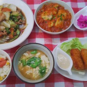 白菜の中華炒めと白身魚のチリソースでお昼ご飯。