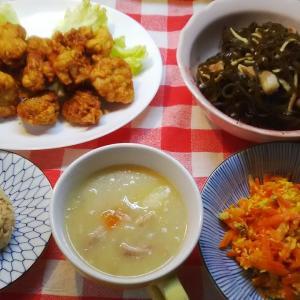 鶏の唐揚げと昆布炒め(クーブイリチー)とオートミールでお昼ご飯。