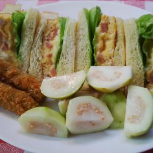 刻みポークと卵焼きのサンドで朝食。