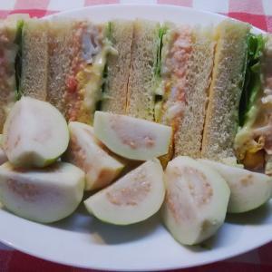 明太子マヨのサンドイッチで朝食。