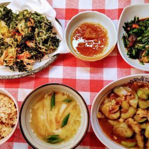 ヘチマのカレー炒めと青しそのかき揚げとオクラの天ぷらでお昼ご飯。
