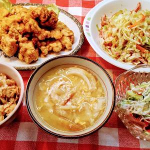 豚ヒレ肉の唐揚げとキャベツ炒めでお昼ご飯。