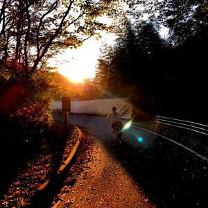 丘陵地の夕暮れサイクリング