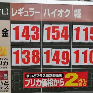 先週日曜日のガソリン価格