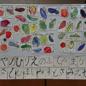 今日の絵手紙教室は体育館でした。
