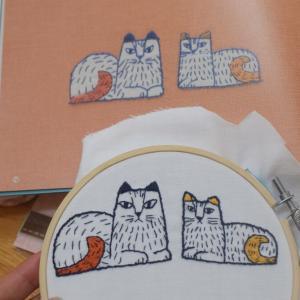 【刺繍】素敵な本を買いました♪憧れのリサ・ラーソンの刺繍をする(・∀・)【ネコ】