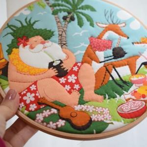 【簡単手作りクリスマスキルト】ハワイのサンタさんはサーフィンでやってくる(*´∇`*)