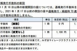 みずほ銀、21年から新規口座の通帳発行に1100円 ネットバンキング推進を本格化