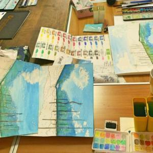 奈良クラスの水辺色塗り。