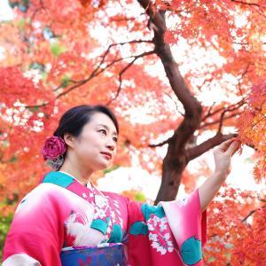 紅葉とオトナのアンティーク着物