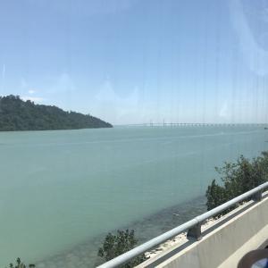 マレーシア旅行⑧、ペナン島、第二大橋、果物、コーン、アイス、高速道路、スチームボート、タイガービール、紹興酒、スイカジュース、ダック、ニュー麺