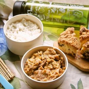 「タレ焼き豚肉の卵とじ丼&母手作りカントリーケーキ弁当」deゆーたんのランチ
