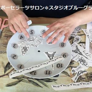 インストラクターコース時計の課題・焼成前の転写紙に上絵の具で色付け
