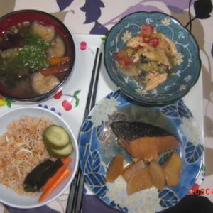 夜ごはん・今日から玄米ご飯