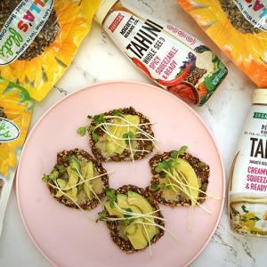 Ella's flats vegan snacks and mighty sesame tahini