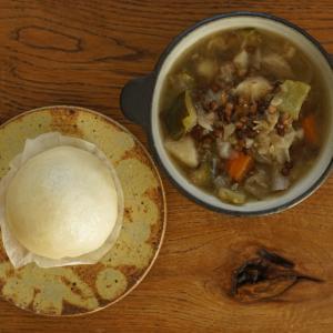 レンズ豆と野菜のスープとあんまん