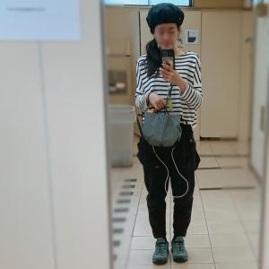 気温22度の服装/ボーダー×ベレー帽