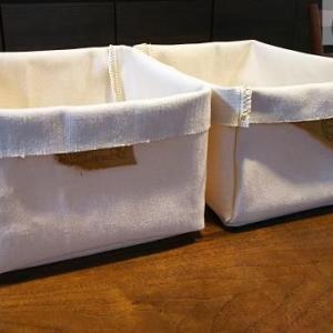 6号帆布のはぎれで収納箱ふたつ 2mを使い切り!