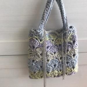 変形松編み ミニバッグ
