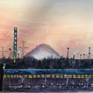 富士山の見える夕景を描く