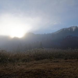 山里の霧と紅葉