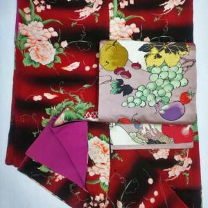 おさんぽきもの中目黒販売予定商品・花篭にサクランボ錦紗小紋、野菜とフルーツの帯