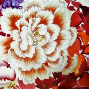 牡丹と藤の手描き逸品丸帯