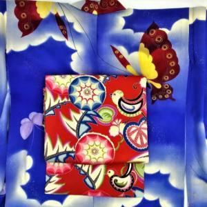 蝶の単衣とエンドウ豆の名古屋帯