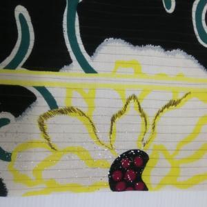 ターコイズのツツジ柄単衣とダリアの人絹絽名古屋帯