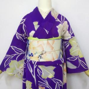 三色のカノコ百合の絽小紋とデコフラワー絽京袋帯
